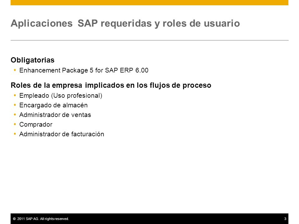 ©2011 SAP AG. All rights reserved.3 Aplicaciones SAP requeridas y roles de usuario Obligatorias Enhancement Package 5 for SAP ERP 6.00 Roles de la emp