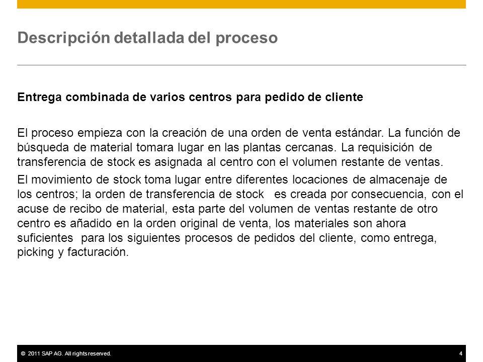©2011 SAP AG. All rights reserved.4 Descripción detallada del proceso Entrega combinada de varios centros para pedido de cliente El proceso empieza co