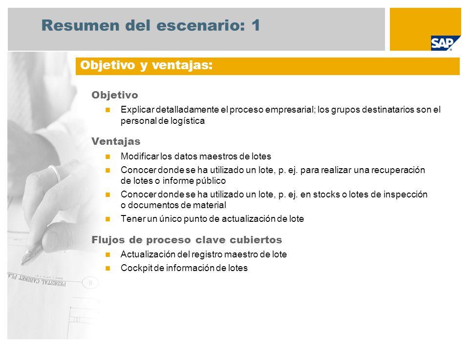 Resumen del escenario: 1 Objetivo Explicar detalladamente el proceso empresarial; los grupos destinatarios son el personal de logística Ventajas Modificar los datos maestros de lotes Conocer donde se ha utilizado un lote, p.