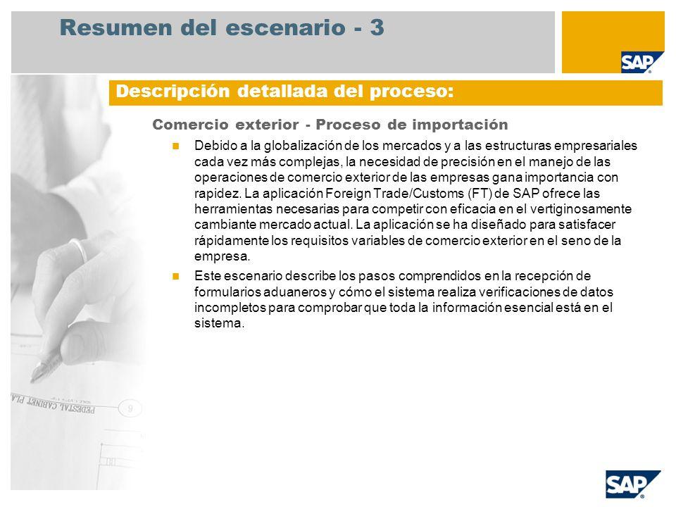 Resumen del escenario - 3 Comercio exterior - Proceso de importación Debido a la globalización de los mercados y a las estructuras empresariales cada