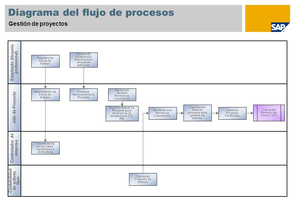 Diagrama del flujo de procesos Gestión de proyectos Empleado (Usuario profesional) Jefe de Proyecto Contabilidad de activos fijos Controlador de empresa Registro de horas de trabajo Autorización de horas de trabajo Transferencia de los datos registrados a controlling (Opcional) Facturación Adjudicación directa de actividad (Opcional) Generar Normas de Liquidación Acuerdo Actual de Proyecto para Analisis de la rentabilidad (CO- PA) Finalizar tecnicamente el Proyecto (Opcional) Creación de Activos Mantener una Norma de Liquidación Liquidación Real de proyecto para gestión de activos.