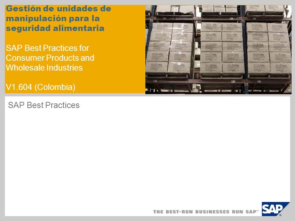 Gestión de unidades de manipulación para la seguridad alimentaria SAP Best Practices for Consumer Products and Wholesale Industries V1.604 (Colombia) SAP Best Practices