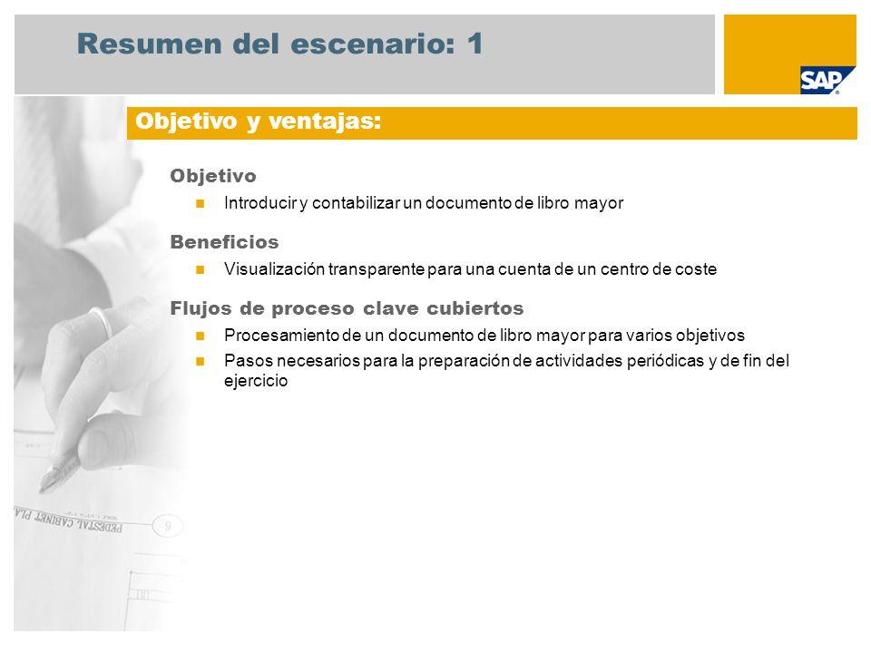 Resumen del escenario: 1 Objetivo Introducir y contabilizar un documento de libro mayor Beneficios Visualización transparente para una cuenta de un ce