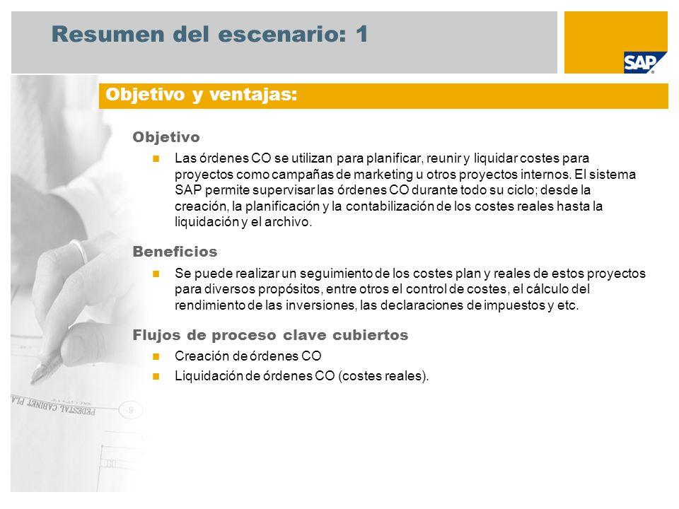 Resumen del escenario: 1 Objetivo Las órdenes CO se utilizan para planificar, reunir y liquidar costes para proyectos como campañas de marketing u otr
