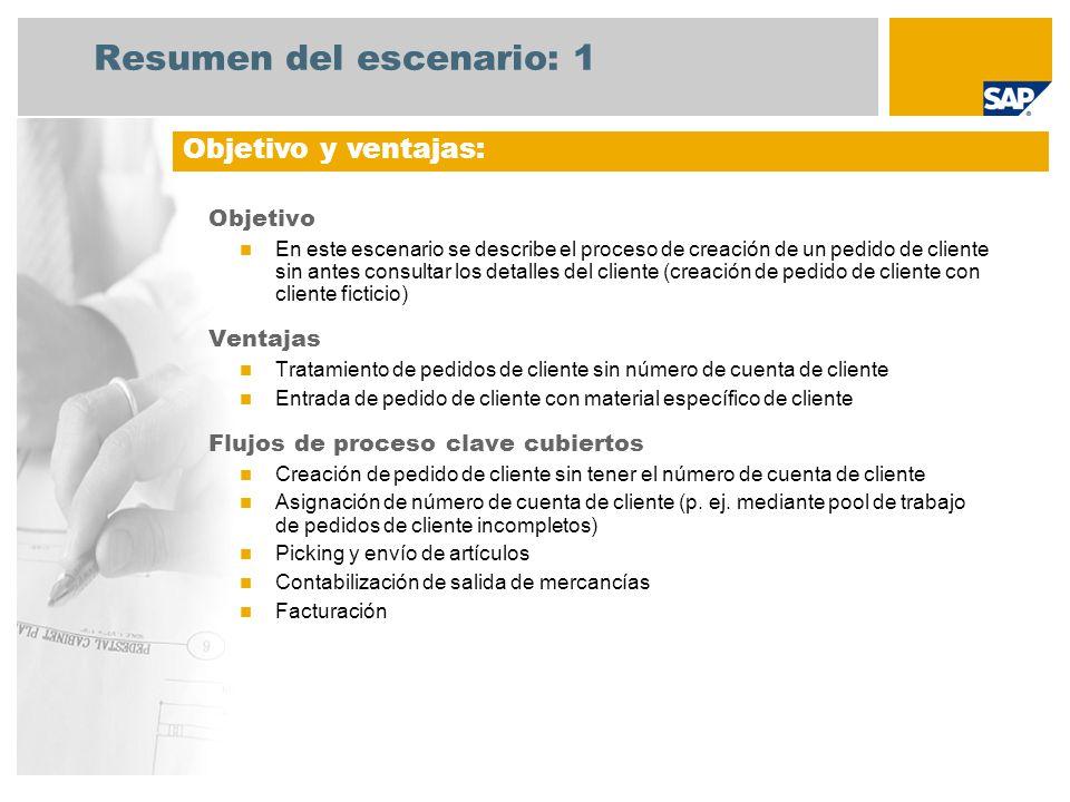 Resumen del escenario: 1 Objetivo En este escenario se describe el proceso de creación de un pedido de cliente sin antes consultar los detalles del cl