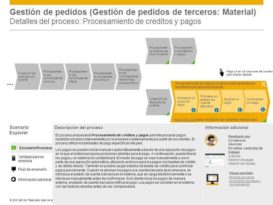 ©© 2012 SAP AG. Reservados todos los derechos. Scenario Explorer Descripción del proceso El proceso empresarial Procesamiento de créditos y pagos perm