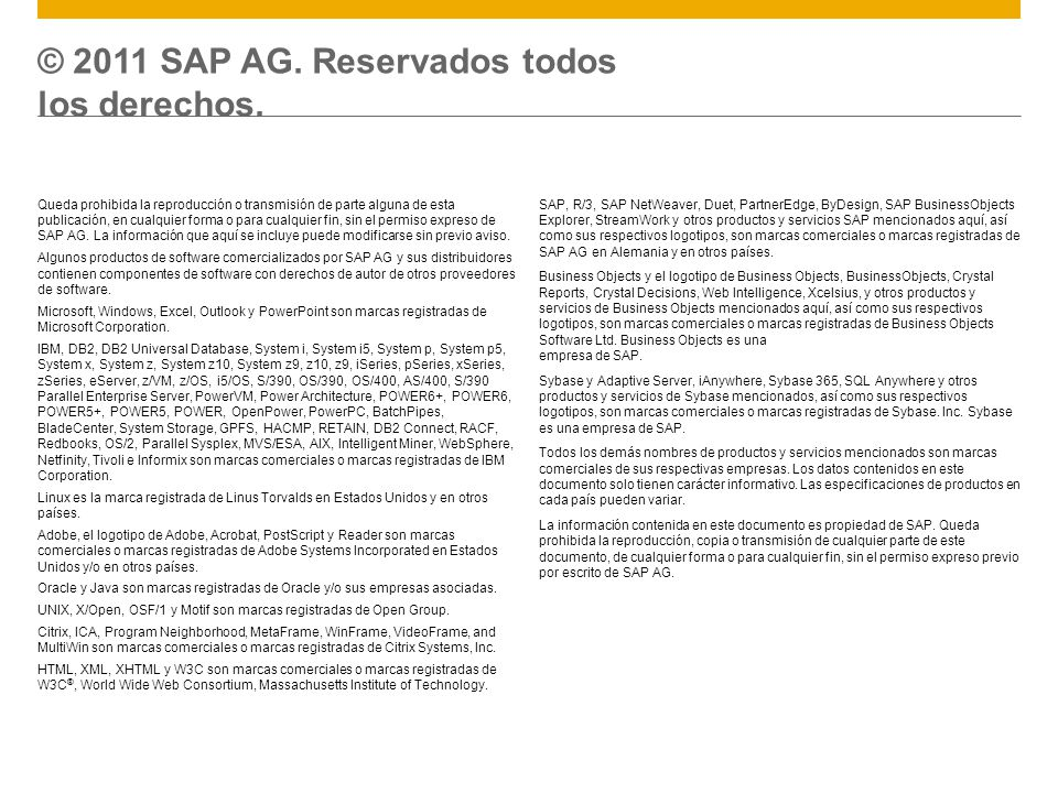 Queda prohibida la reproducción o transmisión de parte alguna de esta publicación, en cualquier forma o para cualquier fin, sin el permiso expreso de SAP AG.