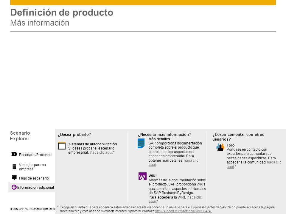 ©© 2012 SAP AG. Reservados todos los derechos. Información adicional Definición de producto Más información Scenario Explorer Ventajas para su empresa