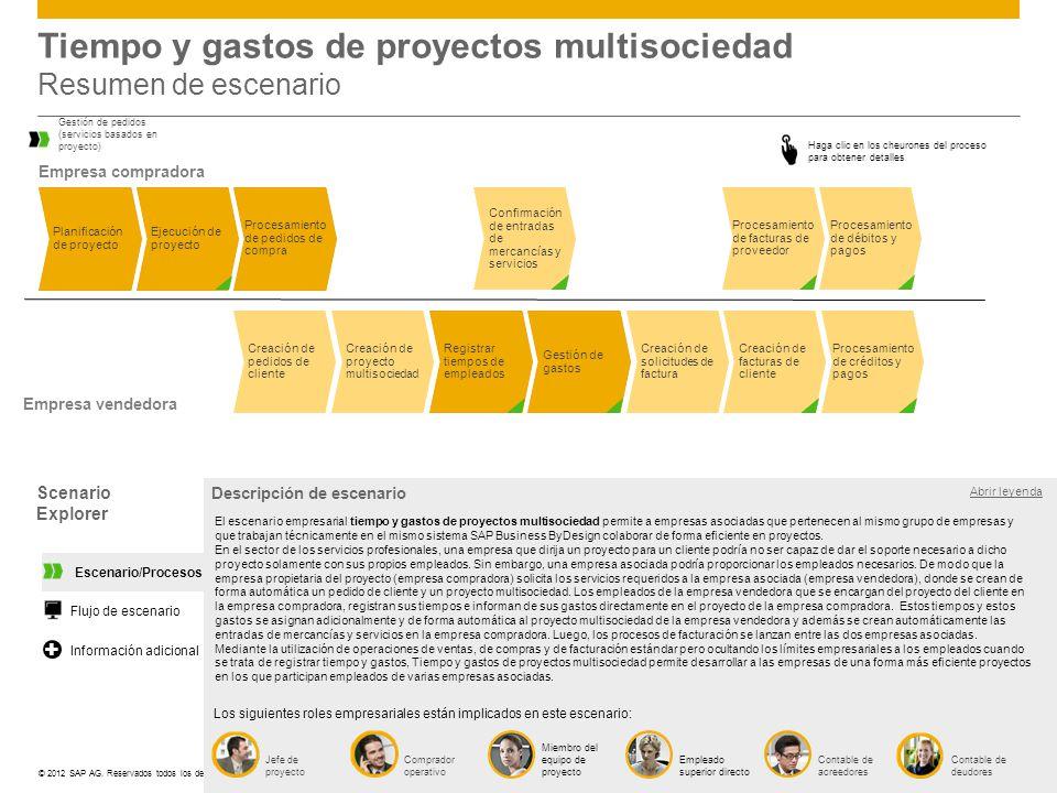 ©© 2012 SAP AG. Reservados todos los derechos. Tiempo y gastos de proyectos multisociedad Resumen de escenario Planificación de proyecto Procesamiento