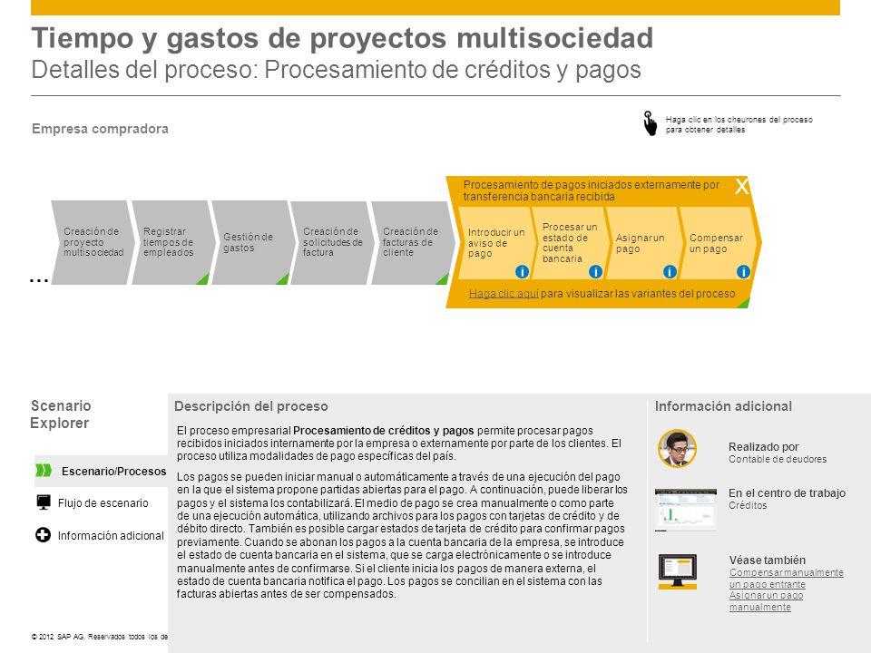 ©© 2012 SAP AG. Reservados todos los derechos. Tiempo y gastos de proyectos multisociedad Detalles del proceso: Procesamiento de créditos y pagos Scen