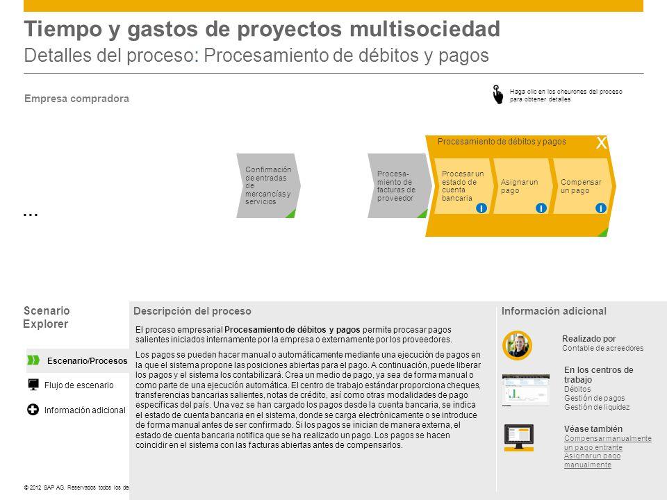 ©© 2012 SAP AG. Reservados todos los derechos. Tiempo y gastos de proyectos multisociedad Detalles del proceso : Procesamiento de débitos y pagos Cheu