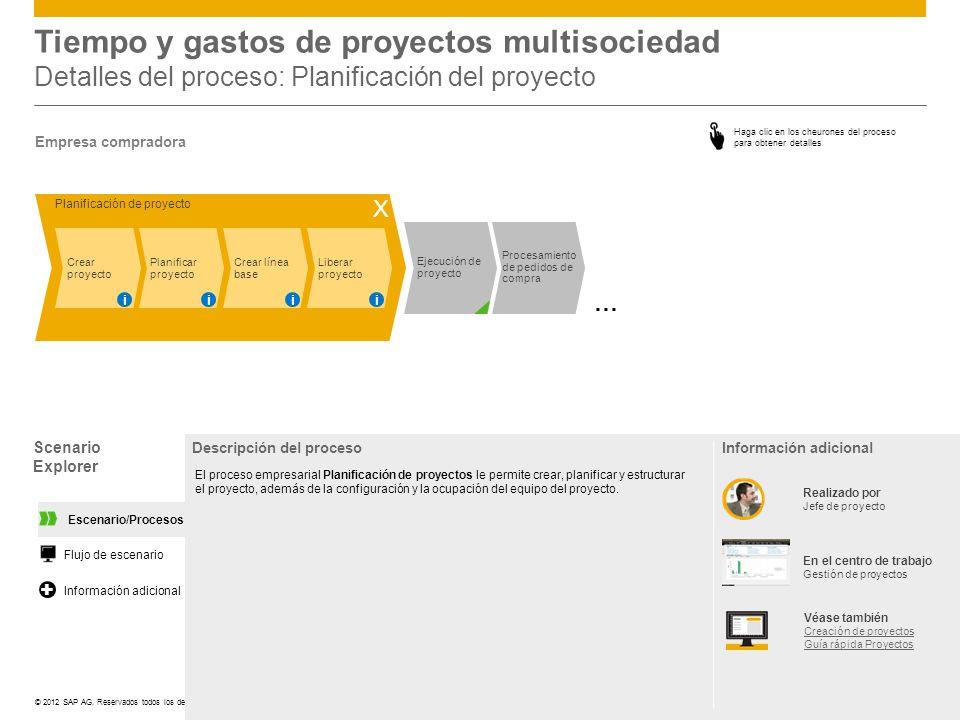 ©© 2012 SAP AG. Reservados todos los derechos. Tiempo y gastos de proyectos multisociedad Detalles del proceso: Planificación del proyecto Scenario Ex