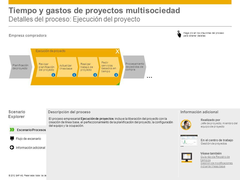 ©© 2012 SAP AG. Reservados todos los derechos. Tiempo y gastos de proyectos multisociedad Detalles del proceso: Ejecución del proyecto Scenario Explor
