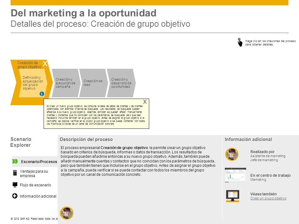 ©© 2012 SAP AG. Reservados todos los derechos. Creación y ejecución de campaña Creación de lead Creación y desarrollo de oportunidad Creación de grupo