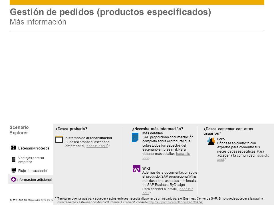 ©© 2012 SAP AG. Reservados todos los derechos. Información adicional Gestión de pedidos (productos especificados) Más información Scenario Explorer Ve