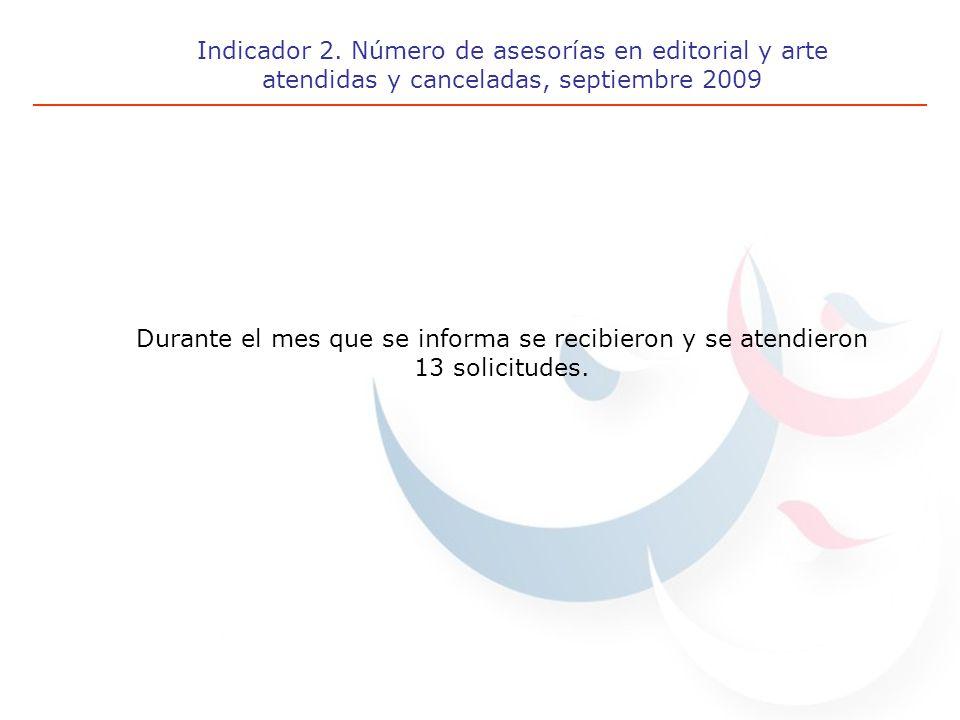 Indicador 2. Número de asesorías en editorial y arte atendidas y canceladas, septiembre 2009 Durante el mes que se informa se recibieron y se atendier
