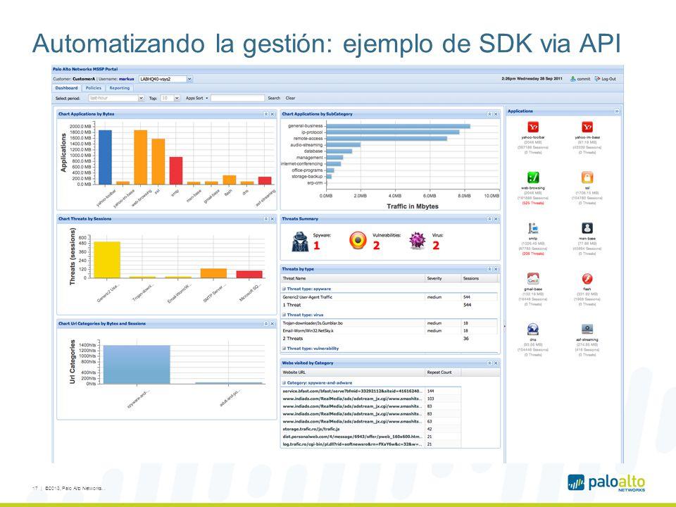 Automatizando la gestión: ejemplo de SDK via API 17 | ©2013, Palo Alto Networks..