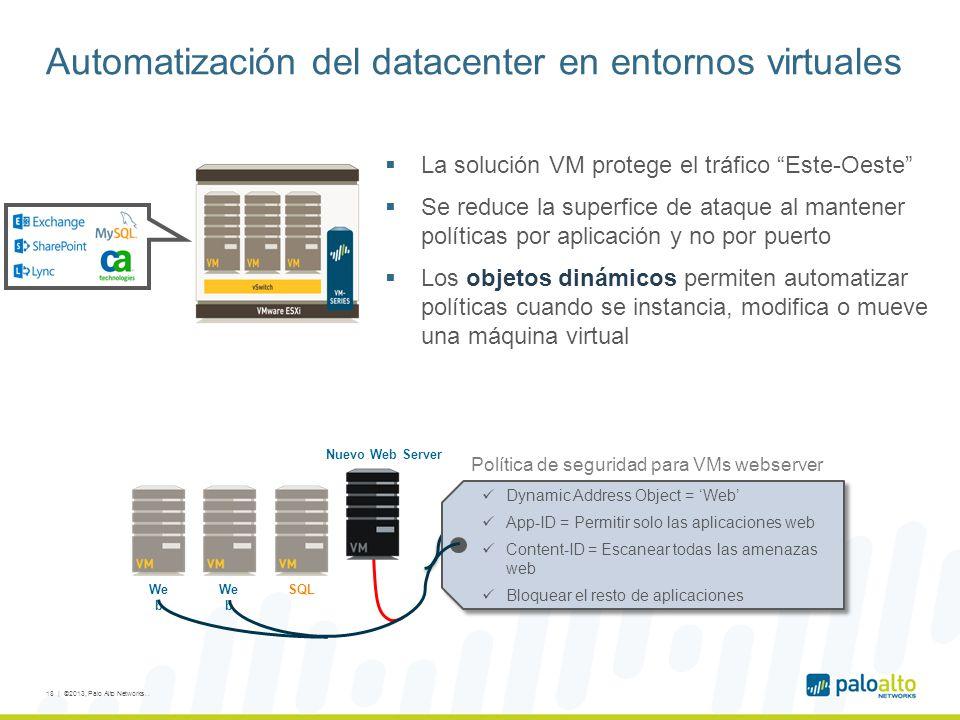 Automatización del datacenter en entornos virtuales 18 | ©2013, Palo Alto Networks..