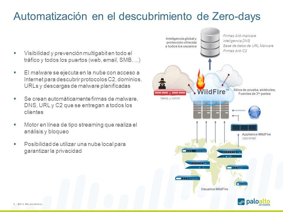 Automatización en el descubrimiento de Zero-days Visibilidad y prevención multigabit en todo el tráfico y todos los puertos (web, email, SMB,...) El malware se ejecuta en la nube con acceso a Internet para descubrir protocolos C2, dominios, URLs y descargas de malware planificadas Se crean automáticamente firmas de malware, DNS, URL y C2 que se entregan a todos los clientes Motor en línea de tipo streaming que realiza el análisis y bloqueo Posibilidad de utilizar una nube local para garantizar la privacidad 8 | ©2013, Palo Alto Networks..