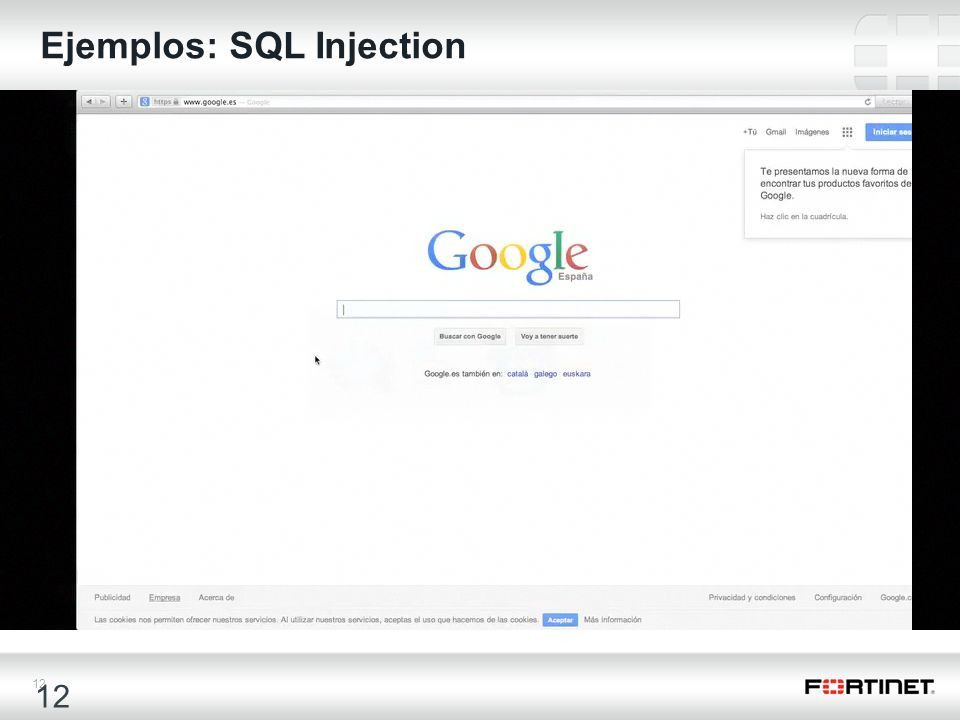 12 Ejemplos: SQL Injection