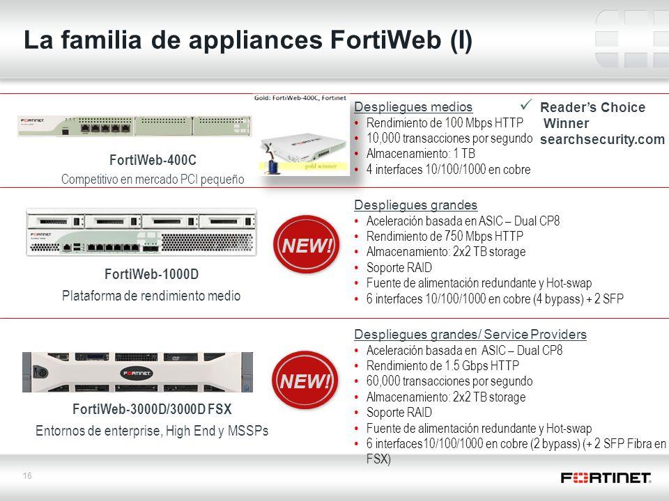 16 La familia de appliances FortiWeb (I) Despliegues grandes Aceleración basada en ASIC – Dual CP8 Rendimiento de 750 Mbps HTTP Almacenamiento: 2x2 TB storage Soporte RAID Fuente de alimentación redundante y Hot-swap 6 interfaces 10/100/1000 en cobre (4 bypass) + 2 SFP Despliegues grandes/ Service Providers Aceleración basada en ASIC – Dual CP8 Rendimiento de 1.5 Gbps HTTP 60,000 transacciones por segundo Almacenamiento: 2x2 TB storage Soporte RAID Fuente de alimentación redundante y Hot-swap 6 interfaces10/100/1000 en cobre (2 bypass) (+ 2 SFP Fibra en el FSX) Despliegues medios Rendimiento de 100 Mbps HTTP 10,000 transacciones por segundo Almacenamiento: 1 TB 4 interfaces 10/100/1000 en cobre FortiWeb-1000D Plataforma de rendimiento medio FortiWeb-3000D/3000D FSX Entornos de enterprise, High End y MSSPs FortiWeb-400C Competitivo en mercado PCI pequeño NEW.