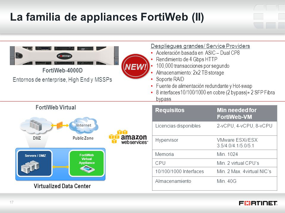 17 La familia de appliances FortiWeb (II) FortiWeb-4000D Entornos de enterprise, High End y MSSPs FortiWeb Virtual Despliegues grandes/ Service Provid