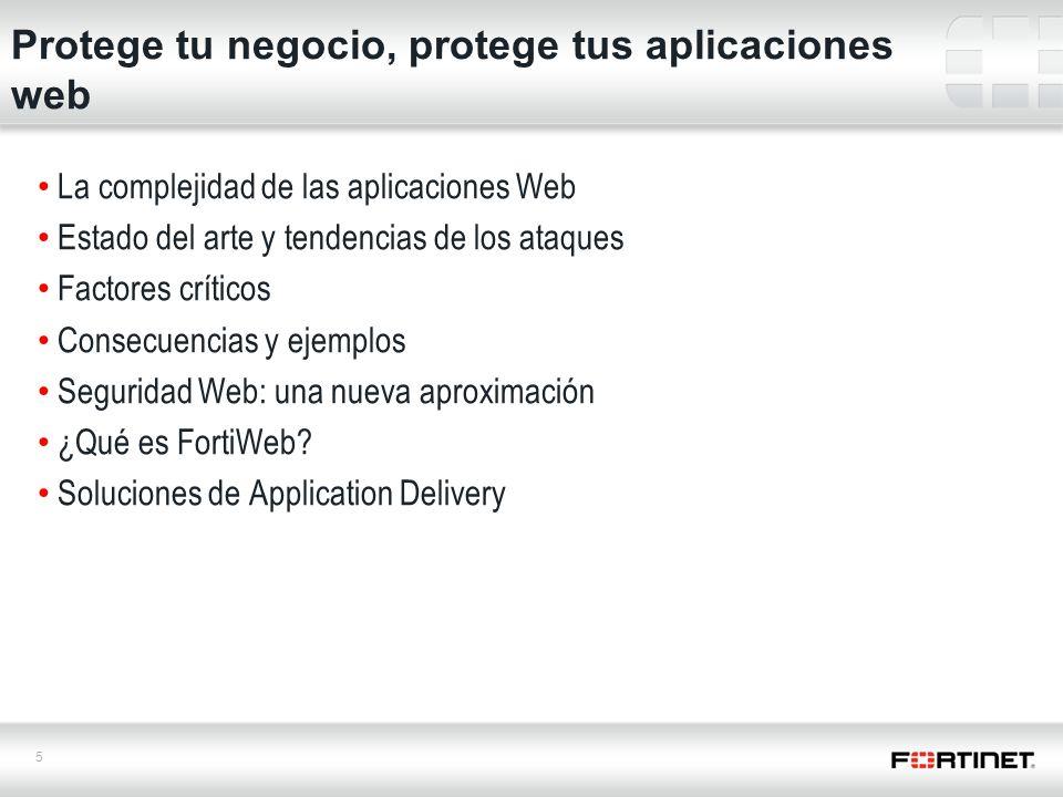 5 La complejidad de las aplicaciones Web Estado del arte y tendencias de los ataques Factores críticos Consecuencias y ejemplos Seguridad Web: una nueva aproximación ¿Qué es FortiWeb.