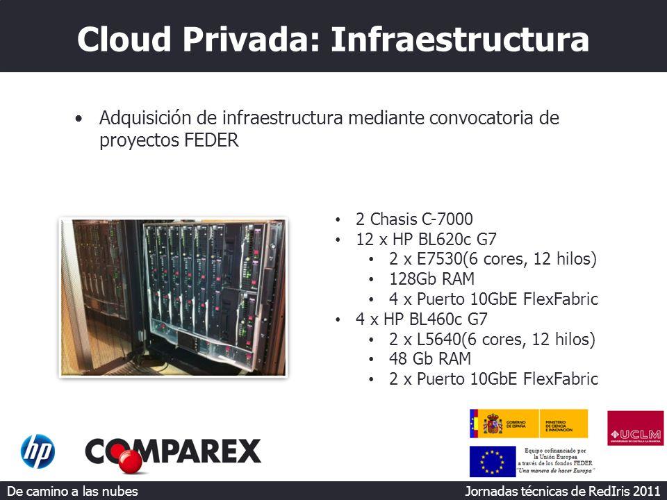 De camino a las nubes Jornadas técnicas de RedIris 2011 Cloud Privada: Infraestructura Adquisición de infraestructura mediante convocatoria de proyectos FEDER 2 Chasis C-7000 12 x HP BL620c G7 2 x E7530(6 cores, 12 hilos) 128Gb RAM 4 x Puerto 10GbE FlexFabric 4 x HP BL460c G7 2 x L5640(6 cores, 12 hilos) 48 Gb RAM 2 x Puerto 10GbE FlexFabric