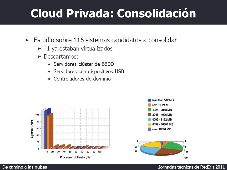 De camino a las nubes Jornadas técnicas de RedIris 2011 Cloud Privada: Consolidación Estudio sobre 116 sistemas candidatos a consolidar 41 ya estaban virtualizados Descartamos: Servidores clúster de BBDD Servidores con dispositivos USB Controladores de dominio