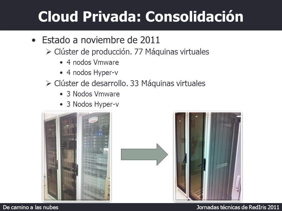 De camino a las nubes Jornadas técnicas de RedIris 2011 Cloud Privada: Consolidación Estado a noviembre de 2011 Clúster de producción.