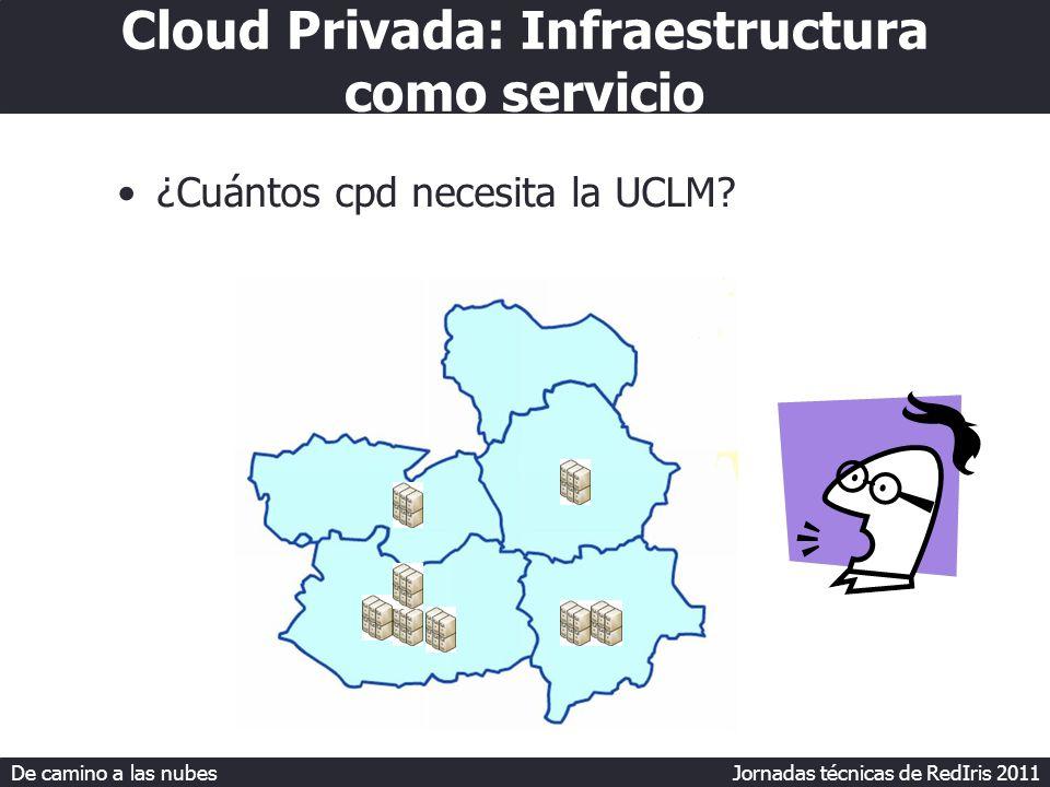 De camino a las nubes Jornadas técnicas de RedIris 2011 Cloud Privada: Infraestructura como servicio ¿Cuántos cpd necesita la UCLM