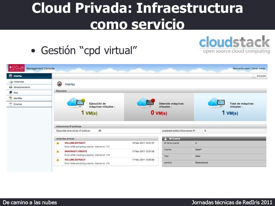 De camino a las nubes Jornadas técnicas de RedIris 2011 Cloud Privada: Infraestructura como servicio Gestión cpd virtual