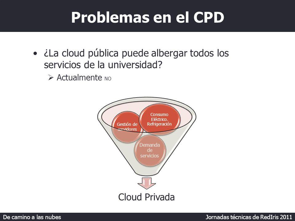 De camino a las nubes Jornadas técnicas de RedIris 2011 Cloud Pública Privada Consolidación CPD Escritorios Aplicaciones