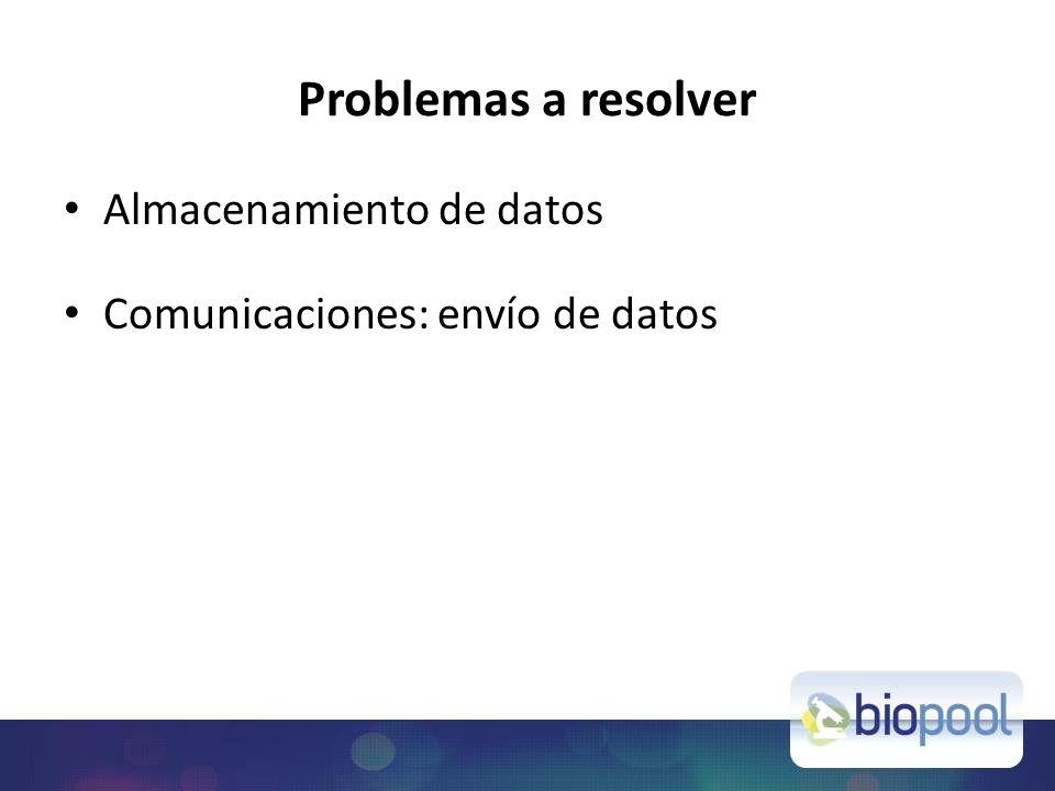 Problemas a resolver Almacenamiento de datos Comunicaciones: envío de datos