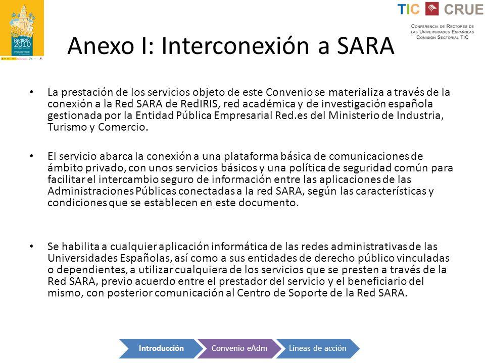 Anexo I: Interconexión a SARA La prestación de los servicios objeto de este Convenio se materializa a través de la conexión a la Red SARA de RedIRIS,