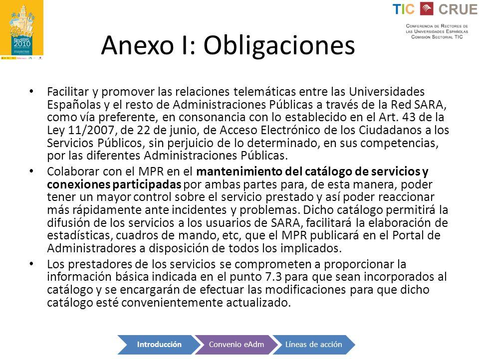 Anexo I: Obligaciones Facilitar y promover las relaciones telemáticas entre las Universidades Españolas y el resto de Administraciones Públicas a trav