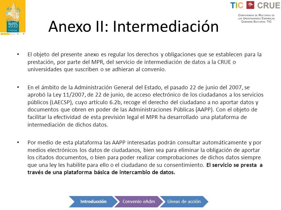 Anexo II: Intermediación El objeto del presente anexo es regular los derechos y obligaciones que se establecen para la prestación, por parte del MPR,