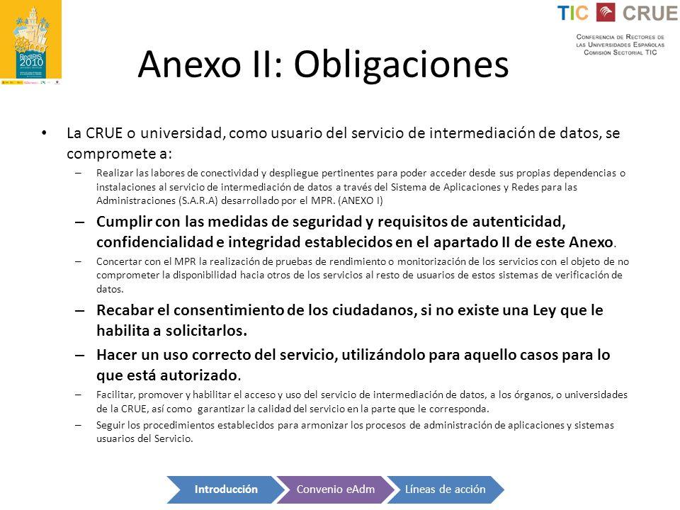 Anexo II: Obligaciones La CRUE o universidad, como usuario del servicio de intermediación de datos, se compromete a: – Realizar las labores de conecti