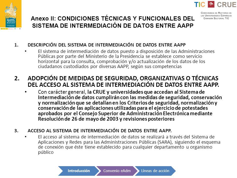 Anexo II: CONDICIONES TÉCNICAS Y FUNCIONALES DEL SISTEMA DE INTERMEDIACIÓN DE DATOS ENTRE AAPP 1.DESCRIPCIÓN DEL SISTEMA DE INTERMEDIACIÓN DE DATOS EN