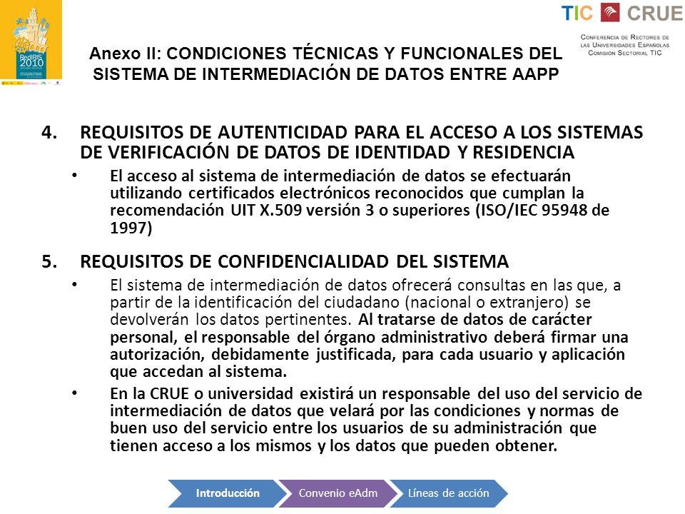 Anexo II: CONDICIONES TÉCNICAS Y FUNCIONALES DEL SISTEMA DE INTERMEDIACIÓN DE DATOS ENTRE AAPP 4.REQUISITOS DE AUTENTICIDAD PARA EL ACCESO A LOS SISTE