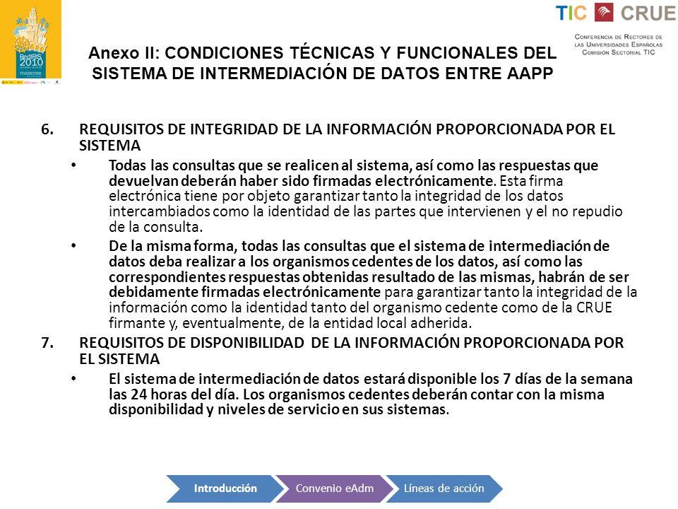 Anexo II: CONDICIONES TÉCNICAS Y FUNCIONALES DEL SISTEMA DE INTERMEDIACIÓN DE DATOS ENTRE AAPP 6.REQUISITOS DE INTEGRIDAD DE LA INFORMACIÓN PROPORCION