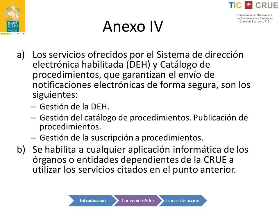 Anexo IV a)Los servicios ofrecidos por el Sistema de dirección electrónica habilitada (DEH) y Catálogo de procedimientos, que garantizan el envío de n