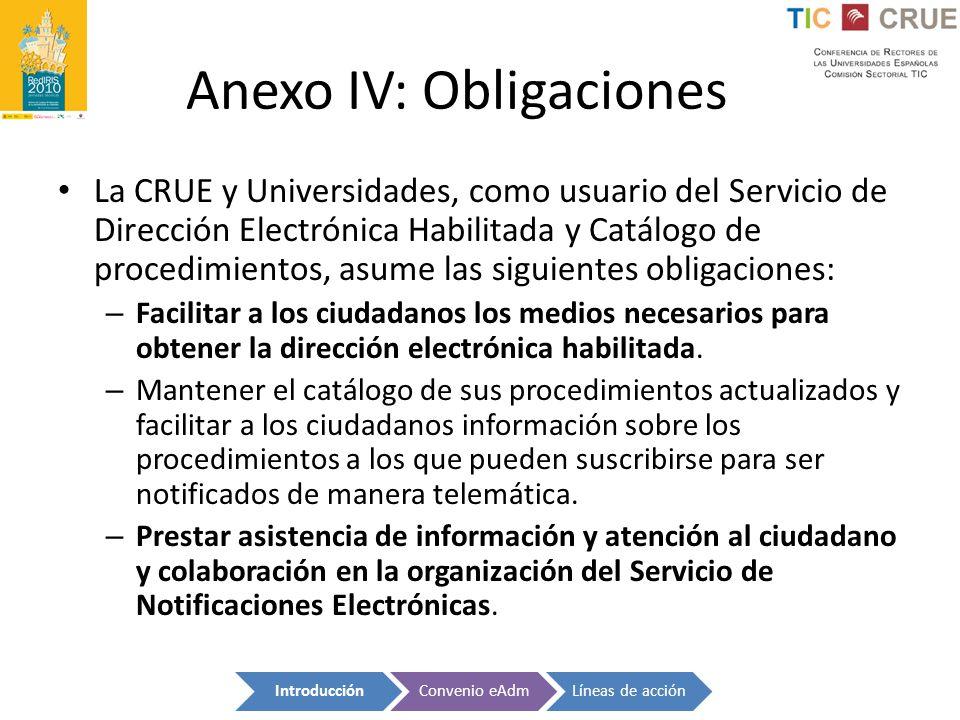 Anexo IV: Obligaciones La CRUE y Universidades, como usuario del Servicio de Dirección Electrónica Habilitada y Catálogo de procedimientos, asume las