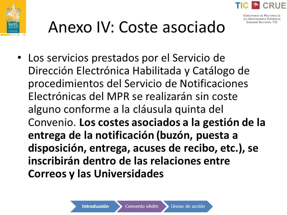 Anexo IV: Coste asociado Los servicios prestados por el Servicio de Dirección Electrónica Habilitada y Catálogo de procedimientos del Servicio de Noti