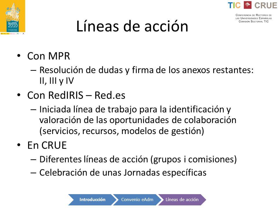 Con MPR – Resolución de dudas y firma de los anexos restantes: II, III y IV Con RedIRIS – Red.es – Iniciada línea de trabajo para la identificación y
