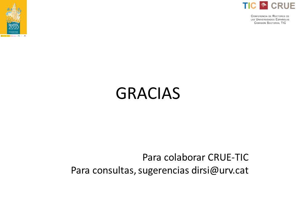 GRACIAS Para colaborar CRUE-TIC Para consultas, sugerencias dirsi@urv.cat