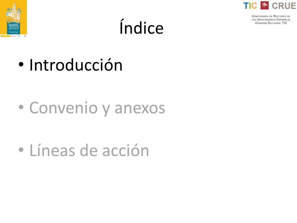 Índice Introducción Convenio y anexos Líneas de acción