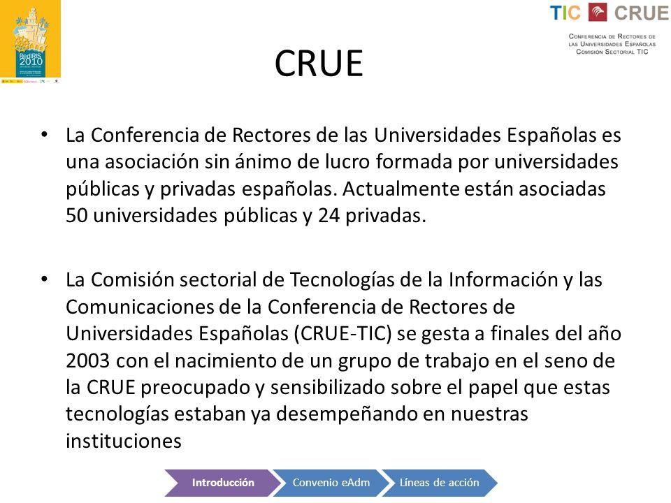 CRUE La Conferencia de Rectores de las Universidades Españolas es una asociación sin ánimo de lucro formada por universidades públicas y privadas espa