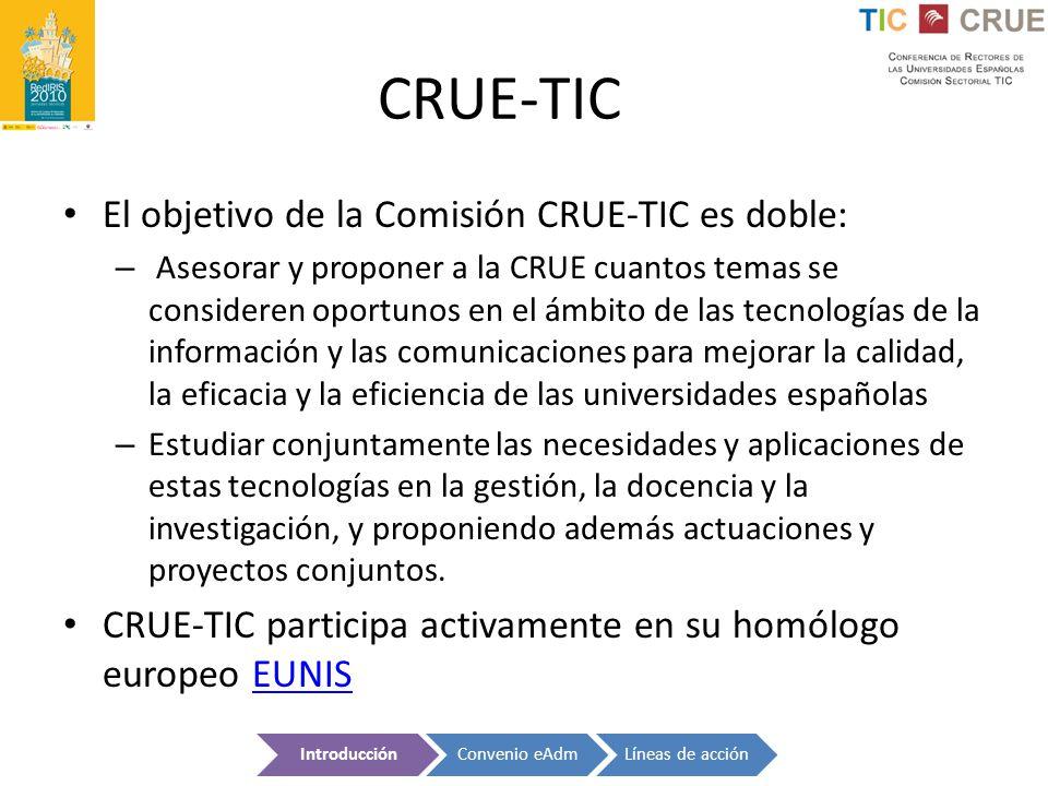 CRUE-TIC El objetivo de la Comisión CRUE-TIC es doble: – Asesorar y proponer a la CRUE cuantos temas se consideren oportunos en el ámbito de las tecno