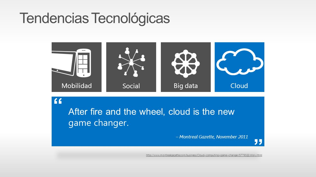 Mobilidad Cloud Social Big data After fire and the wheel, cloud is the new game changer. – Montreal Gazette, November 2011 http://www.montrealgazette.